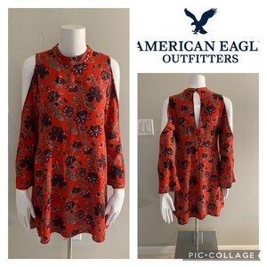 American Eagle Orange Floral Cold Shoulder Dress